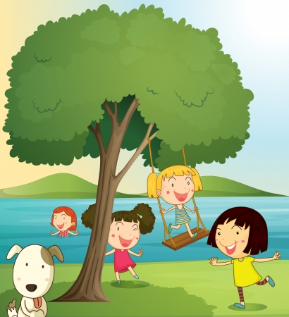 greenary: illustration of girls playing under tree in a beautiful nature