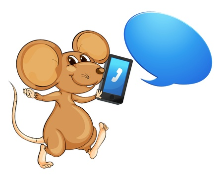 illustration of a mouse, a mobile and callout on white Vector