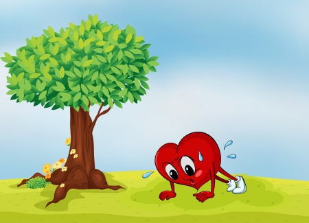 greenary: illustration of the heart and a tree in a beautiful nature