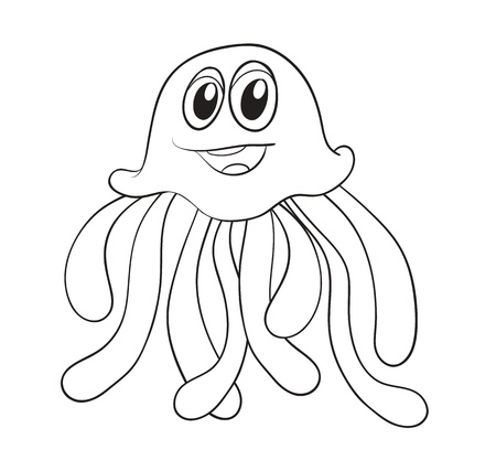 black octopus: illustration of  an octopus on a white background