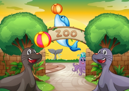 illustration of sea animals in zoo in a beautiful nature Vector