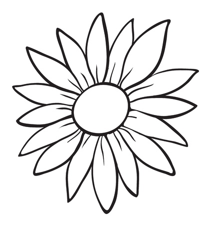 outline drawing: detailed illustration of a flower sketch on white
