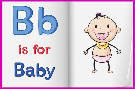 illustration of a baby on a book page Vector