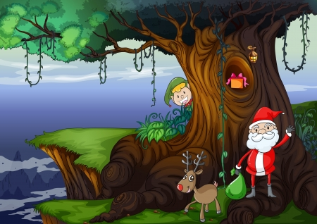 hollow tree: illustration of santa claus and a reindeer in a beautiful nature
