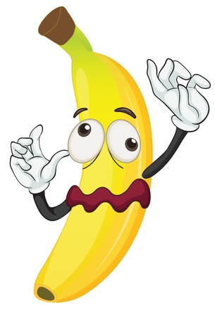 cartoon vegetable: illustration of a banana on a white background