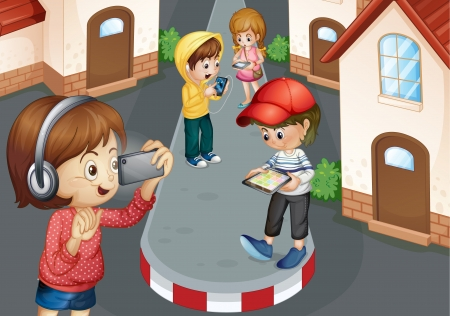 detailed illustration of kids on a road Stock Vector - 15899190