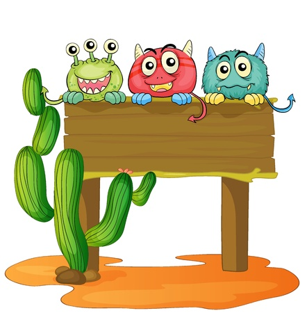 goblins: illustration of a board and monsters on a white background Illustration