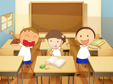 study table: detailed illustration of kids in a classroom