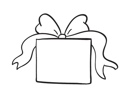 detailed sketch of gift box on a white background Vector