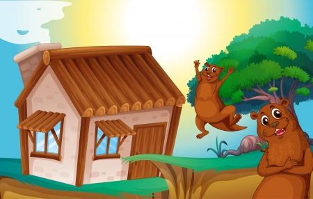 bungalow: illustration of wooden house and otters in nature