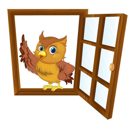 detailed illustration of a bird in a window Vector
