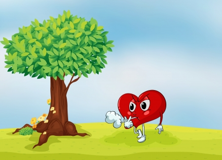 illustration of a heart and a tree in a beautiful nature Illustration