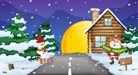 winter scenery: illustration of santa clause and snow man in nature