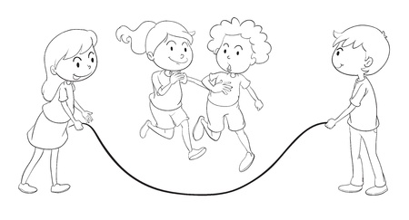 detailed illustration of kids playing on a white background Vector