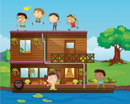canotaje: illystration de ni�os jugando cerca de una casa flotante