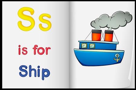 barco caricatura: Hoja de la enseñanza de una letra y la palabra con la imagen Vectores