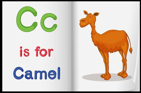 cartoon camel: Worksheet teaching a letter and word with picture