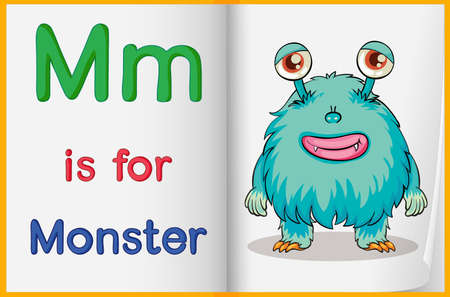 alien clipart: Worksheet teaching a letter and word with picture