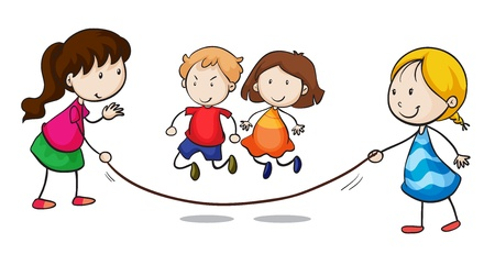 happy kids playing: Illustration of a group skipping