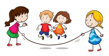 saltar la cuerda: Ilustraci�n de un grupo saltarse