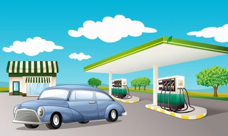 petrol pump: Illustration of a gas station