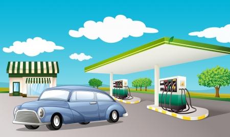 old service station: Illustrazione di un distributore di benzina Vettoriali