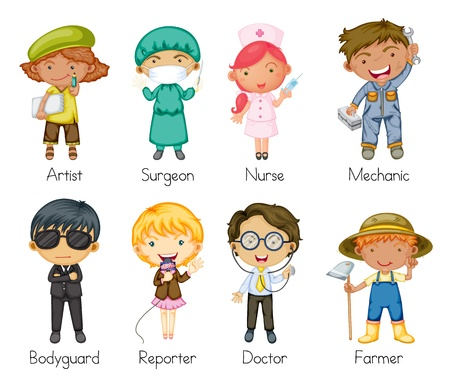 Illustration of a jobs and professions Vector