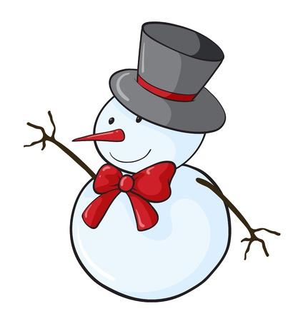 bonhomme de neige: Illustration d'un bonhomme de neige facile Illustration