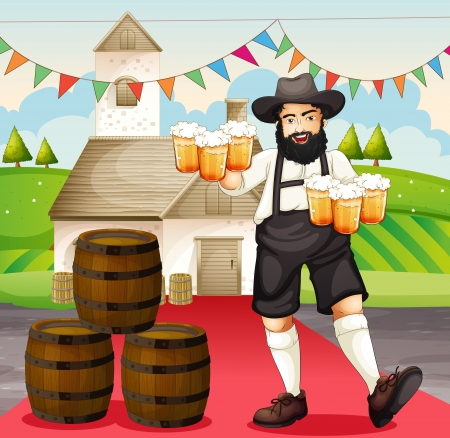 Illustration of a german man at Oktoberfest Vector