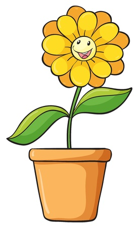 pot: Illustration of a simple flower