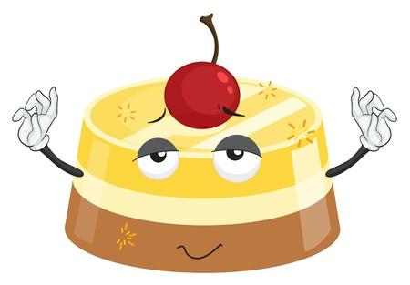 custard: Illustration of a dessert with face