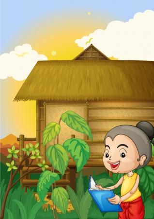 thatched: Illustration of a thai scene Illustration