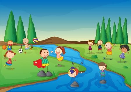 river rock: Illustrazione di una scena di fiume Vettoriali