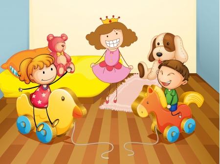 pl�schtier: Illustration eines Kinder im Schlafzimmer