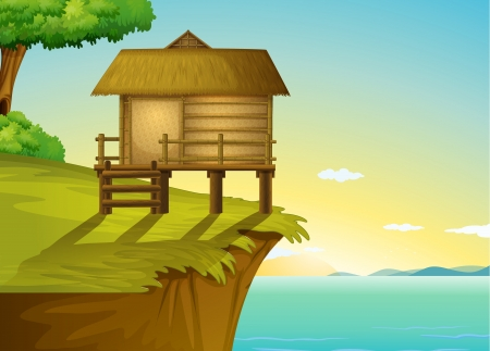 Illustration of a thai house on a cliff Illustration