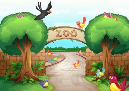 familia parque: Ilustraci�n de una escena zoo