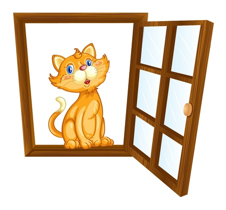Illustration of a cat in a window Illustration
