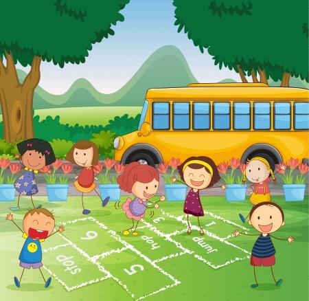 bambini che giocano: Illustrazione di una scena parco con campana