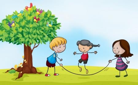 Ilustración de una escena del parque con los niños saltando