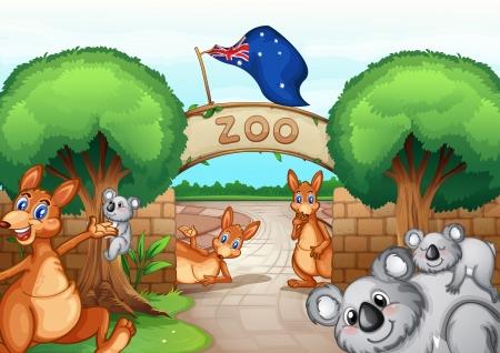 huellas de animales: Ilustración de una escena zoo