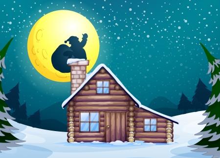 cabin: Illustration of a winter christmas scene Illustration