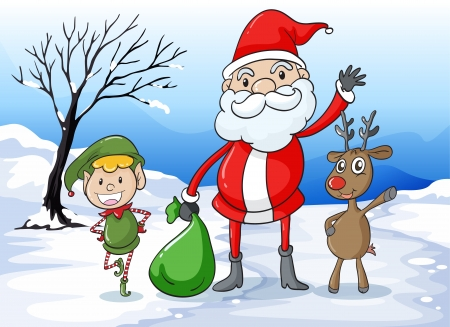 snowing: Illustration of a santa and friends