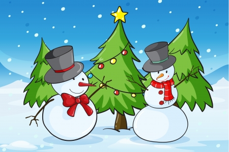 detailed illustration of snowmen in a snow land Stock Vector - 15943782