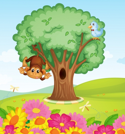 illustration of a monkey, a bird and a tree in a beautiful nature Stock Vector - 15943810