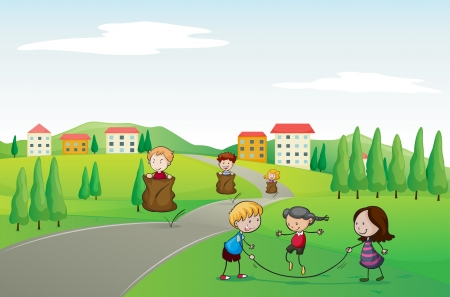 illustration of a kids in a beautiful nature Vector