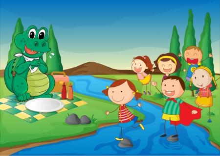 beaux paysages: illustration d'une rivi�re, un dinosaure et enfants dans une belle nature