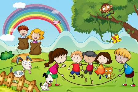 skipping: illustration of animals and kids in a beautiful nature Illustration