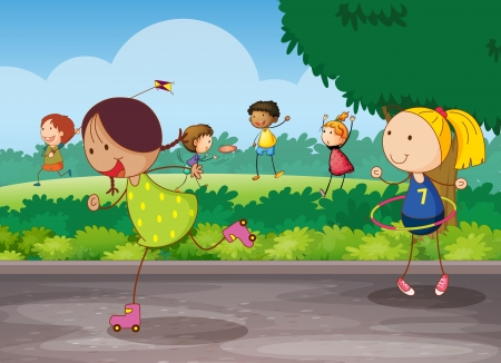 rollerblade: illustration of kids playing in a beautiful nature Illustration