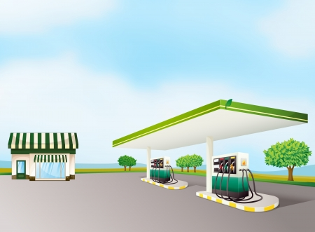 petrol station: illustration of a house and a gas station in a beautiful nature Illustration