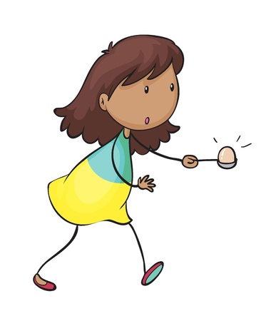 egg cartoon: illustration of a girl doing the egg and spoon race on a white background
